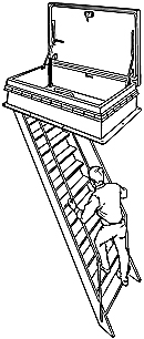 Illustration showing a man on a ladder below a hatch