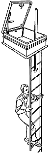 illustration showing a man climbing a ladder to a roof access hatch