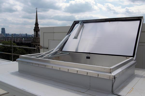 open smoke and heat vent roof access hatch