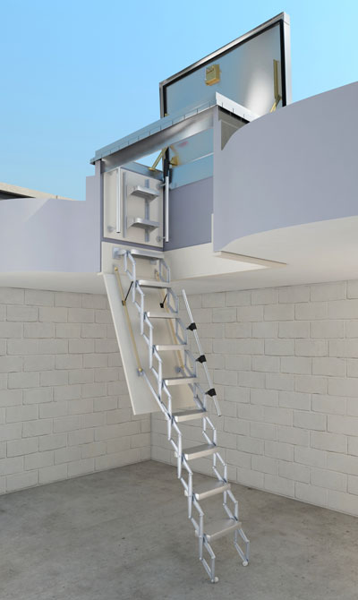 picture of the Bilco BL-ZBOX retractable ladder with trapdoor, ladder backboard and a roof access hatch