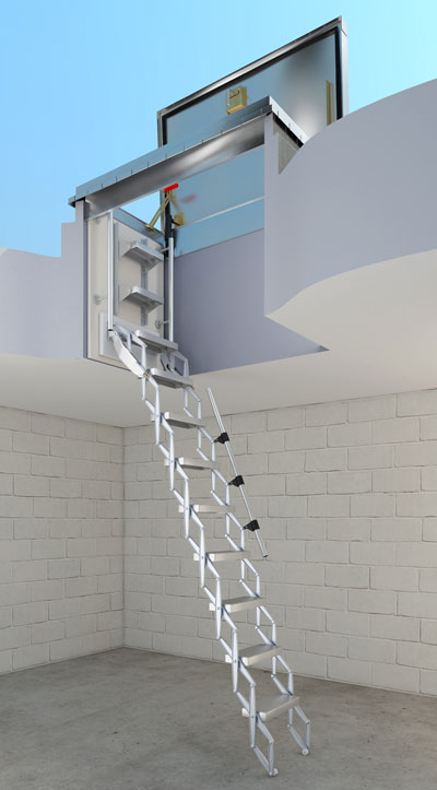 picture of the Bilco BL-Z retractable ladder in the open position (shown under a BILCO cs50-tb roof hatch)
