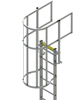 Type BL-WG Fixed Vertical Ladder with Safety Cage and Guard Rail Product Image