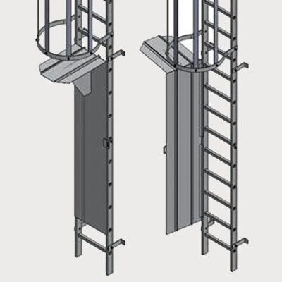 Type Bl Wg Fixed Vertical Ladder With Safety Cage And